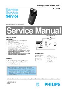 Manual de serviço Philips Marco Polo HQ 322/A