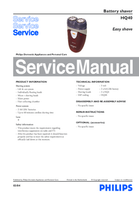 Service Manual Philips Easy shave HQ40