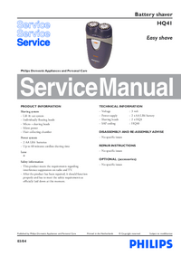 Manual de servicio Philips Easy shave HQ41