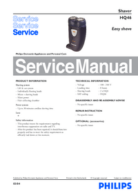 Servicehandboek Philips Easy shave HQ46