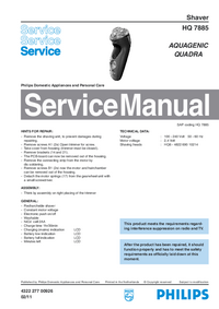 Manual de servicio Philips HQ 7885