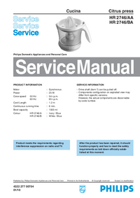 Service Manual Philips HR 2746/AA