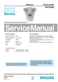 Manual de servicio Philips Essence HR 2752/B