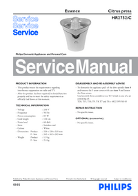 Manual de servicio Philips Essence HR2752/C