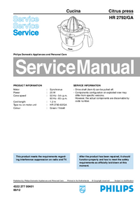 Service Manual Philips Cucina HR 2792/GA