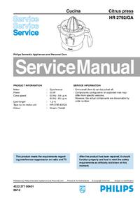 Instrukcja serwisowa Philips Cucina HR 2792/GA