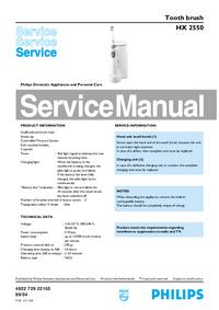 Servicehandboek Philips HX 2550