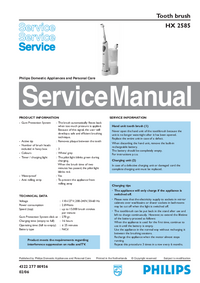 Manual de servicio Philips HX 2585