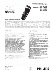 Service Manual Philips PHilishave HQ 5830/A