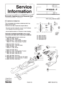 Service Manual Supplement Philips HR 6025/E