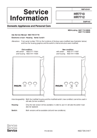 Service Manual Supplement Philips HR7712