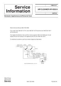 Service Manual Supplement Philips HR 4330/A