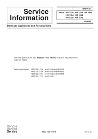 Service Manual Supplement Philips HR 1538