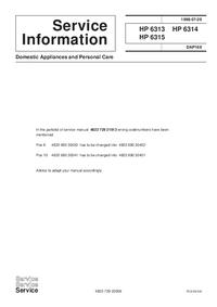 Manuale di servizio Supplemento Philips HP 6315