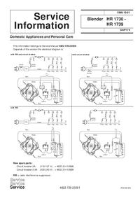 Supplément manuel de réparation Philips HR 1739
