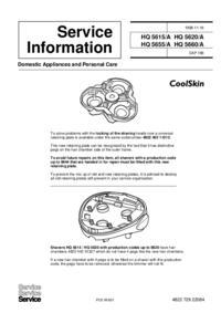 Manuale di servizio Supplemento Philips HQ 5620/A