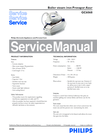 Manual de servicio Philips Provapor Azur GC6068