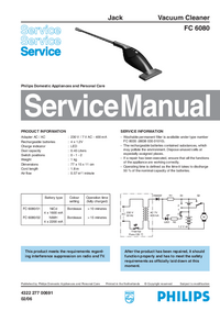 Manual de servicio Philips Jack FC 6080