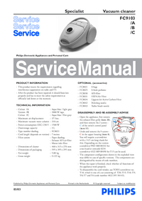Service Manual Philips Specialist FC9103
