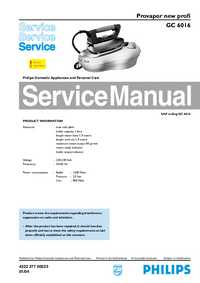 Service Manual Philips Provapor new profi GC 6016