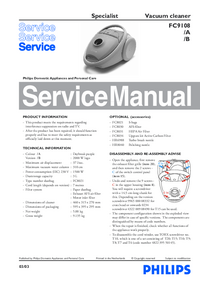 Service Manual Philips Specialist FC9108