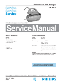Manual de servicio Philips Provapor GC 6020