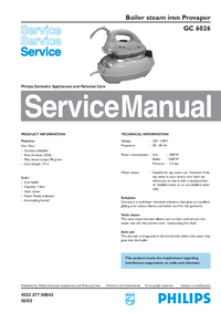 Manual de servicio Philips Provapor GC 6026