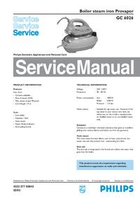 Manuale di servizio Philips Provapor GC 6026