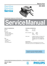 Manual de servicio Philips GC 6040
