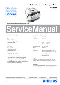 Instrukcja serwisowa Philips Provapor Azur GC6065