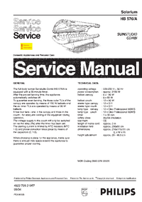 Руководство по техническому обслуживанию Philips SUNStudio Combi HB576/A