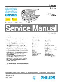 Service Manual Philips Sunstudio Combi HB 581/A