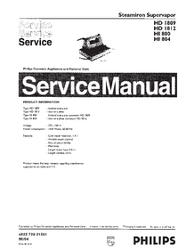 Service Manual Philips Supervapor HD1812