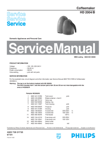 Manual de servicio Philips HD 2004/B