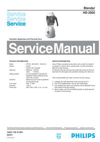 Руководство по техническому обслуживанию Philips HD 2005