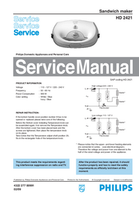 Servicehandboek Philips HD 2421