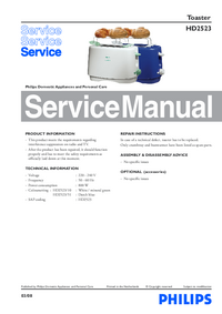 Serviceanleitung Philips HD2523