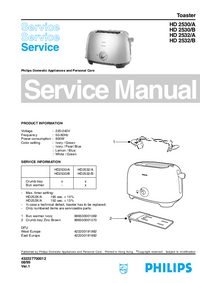 Servicehandboek Philips HD 2530/B
