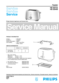 Manual de servicio Philips HD 2531/A