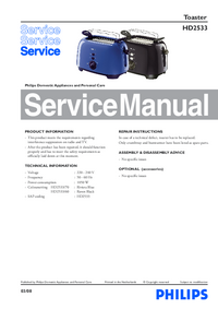 Service Manual Philips HD2533