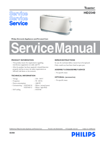 Manual de servicio Philips HD2540