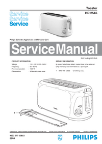 Servicehandboek Philips HD 2545