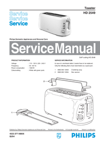 Manual de servicio Philips HD 2549