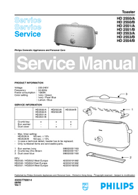Servicehandboek Philips HD 2550/A