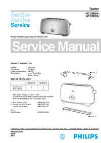 Manual de serviço Philips HD 2560/A