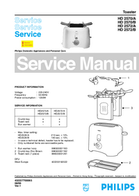 Servicehandboek Philips HD 2572/B