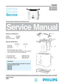 manuel de réparation Philips HD 2572/C