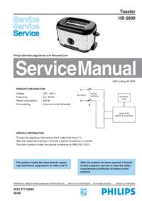 manuel de réparation Philips HD 2600