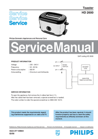Instrukcja serwisowa Philips HD 2600