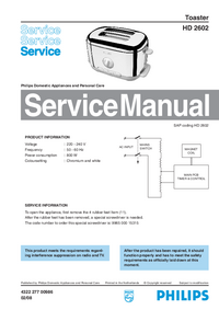 Service Manual Philips HD 2602